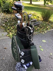 Wilson Pro Staff golf clubs with cart bag