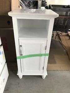 White Night Stand with Marble Top