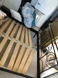 Ikea black iron bed frame Queen size!