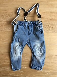 Zara 9-12 month jeans with suspenders
