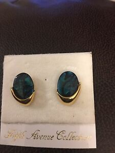 Genuine Paua shell on 14 karat gold