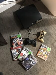 Play Station 3 with 2 controls and several games