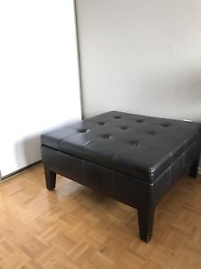 Tufted Leather Storage Ottoman Coffee Table