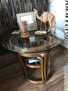 Adorable wicker/glass round end table