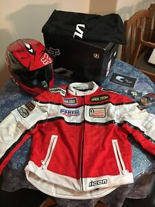 Motorcycle/motocross jacket and helmet