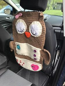 Crocheted owl car organizer