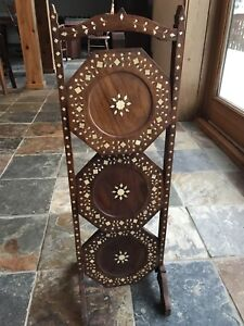 Handcrafted 3-Tier Mother of Pearl Inlay Wood Folding Cake Stand