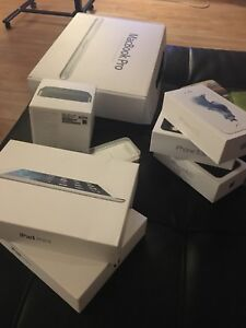 Empty Apple product boxes
