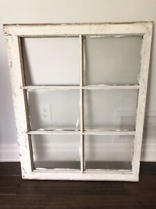 "Rustic Decor AUTHENTIC Vintage Large 35x28"" Wooden Window Frame"