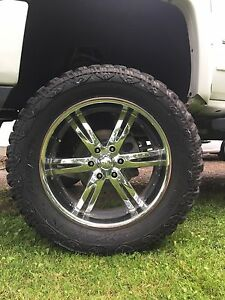 "37"" tires on 22"" chrome wheels 6 bolt Chev"