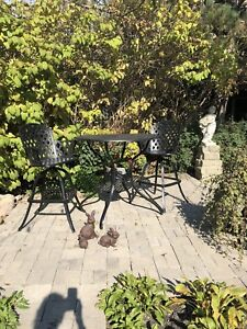 Cast Iron Bar Stools and Table