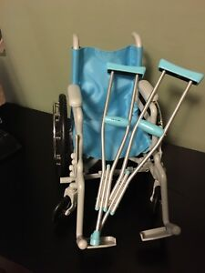 "18"" doll wheelchair and crutches"