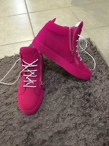 100% Authentic Pink Flock Suede Giuseppe Zanotti Size 8.5