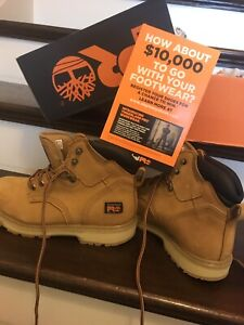 Size 8 timberlands steel toe boots