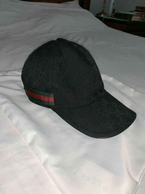 5e28accd22a3b Original GG Canvas Baseball Hat With Web in Black