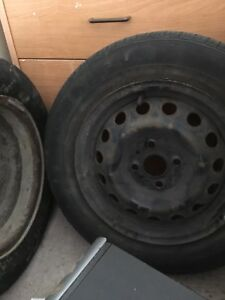 "4 steel rims 14"" (with used tires 2 winter, 2 summer tires)"