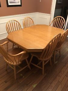 Solid Maple Dining Room Table and Six Chairs