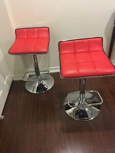 like New - red p leather and chrome stools