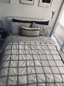 Padded White Double Bed Frame - Must Sell, Great Condition!