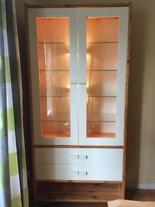 Solid Pine Display or China Cabinet, Ikea, natural pine with