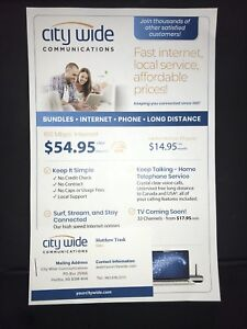 City Wide Internet - $54.95/ month & FREE Long Distance w/ phone