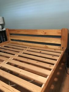 IKEA solid pine queen bed frame