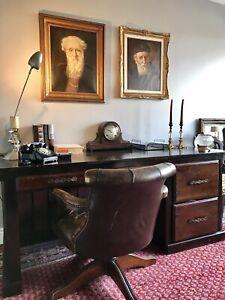 Grand Vintage Solid Wood Executive Desk