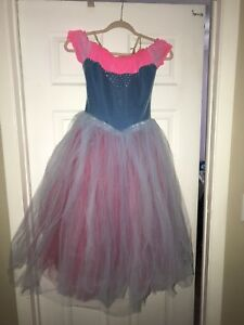 Fluorescent pink and baby blue dance costume ballet gown