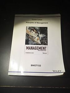 Principles of Management Humber College Edition BMGT152