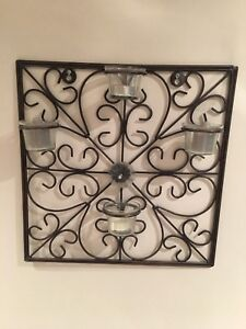 *** Square Steel 4 candle wall holder ***