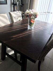 Wood dining table with leaf.