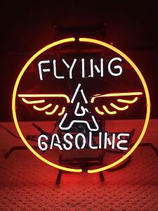 FLYING A gasoline real neon tube sign Garage Mancave Bar