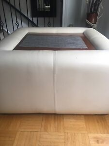 Cream colour leather ottoman coffee table with storage