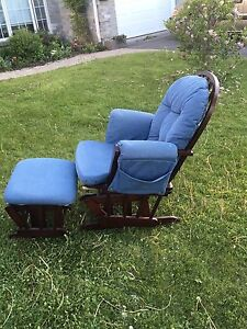 Glide rocking chair and footstool