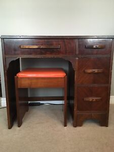 Small Vintage Desk and Bench Seat