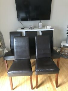 5 leather Dinning chairs
