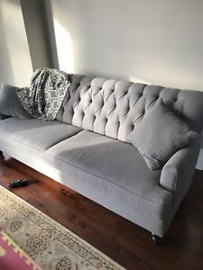 Custom made 3 seater grey flannel couch
