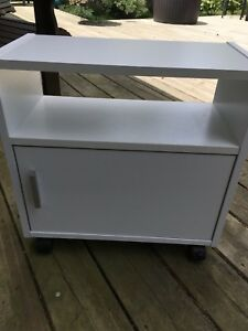 Small White Stand on Wheels