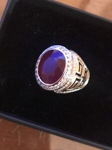 14k men's ring with a 12.5 caret ruby and diamonds