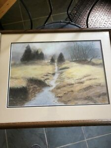 Signed pastel artwork JWH  with frame larger