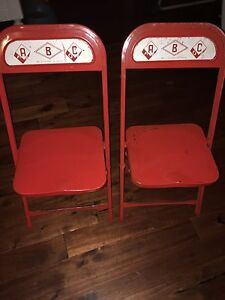 Vintage children's gold down chairs