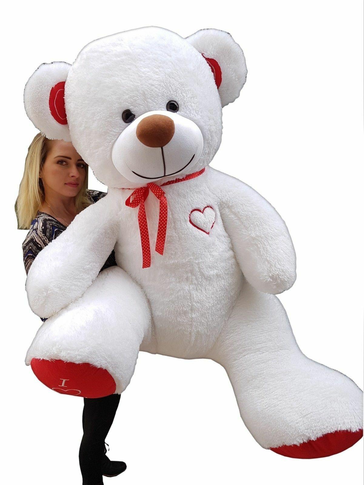 XXL Teddybär Plüsch Kuschel Stoff Tier Riesen Teddy Bär Valentinstag Geschenk XL Weiß - Rot