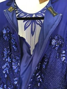 Royal Blue Natural silk (100%) chiffon hand-beaded dress.