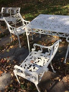 ALUMINUM DINING TABLE/CHAIRS, BENCHES AND SIDE TABLES