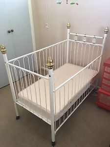 White, metal baby cot with new mattress Rosanna Banyule Area Preview