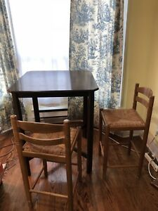 Beautiful Dark Wood High Top Table + Chairs