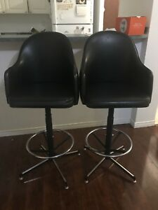 Pair of 2 Leather Bar Stools