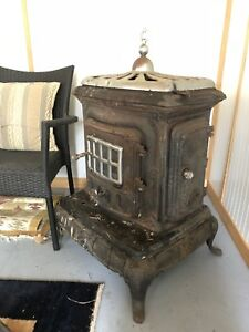 Antique 1900s cast iron Wood stove / cook stove with chimney
