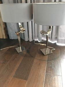 Beautiful pair of gray and chrome bedside lamps