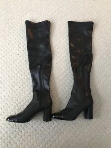 Black Over the knee PU leather boots